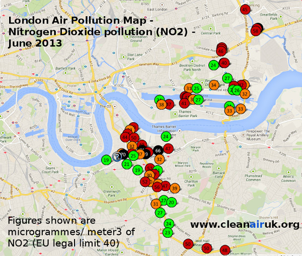 Map showing levels of nitrogen dioxide pollution in Greenwich & Newham London, June 2013